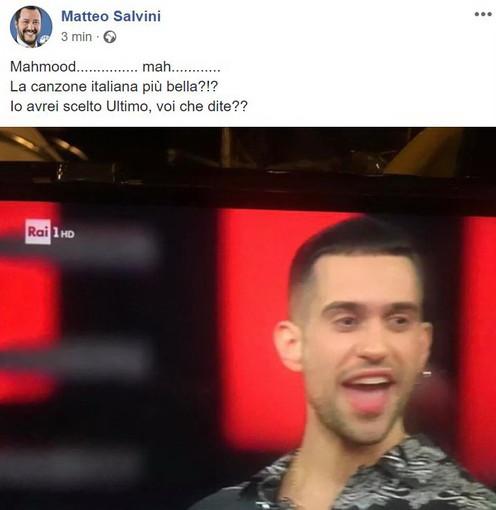 """Anche Salvini commenta il vincitore del Festival: """"Mahmood… mah… la canzone italiana più bella?!"""""""