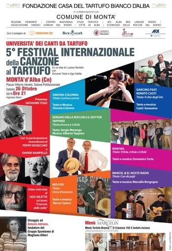 A Montà (CN) sabato 26 Ottobre la V edizione del Festival della Canzone al Tartufo