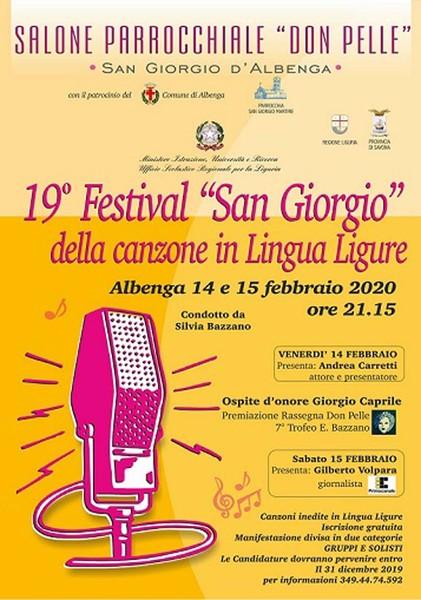 19° Festival Canzone in Lingua Ligure, 14 e 15 febbraio 2020