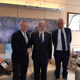 Incontro tra il sindaco di Genova Marco Bucci e l'ambasciatore della Danimarca Anders Carsten Damsgaard