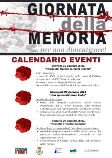 Giornata della Memoria: le iniziative in programma a Sestri Levante