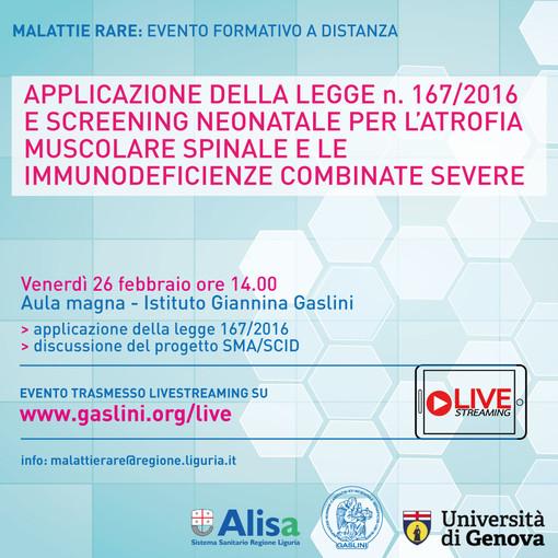 Malattie rare e screening neonatale: ecco l'evento formativo per tutti i Centri della Liguria