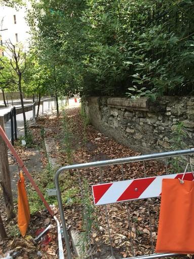 Pegli, sarà ricostruito a breve il muro crollato in viale Modugno