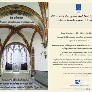 Giornate Europee del Patrimonio 2020: il Segretariato Regionale MiBACT per la Liguria contribuisce all'evento