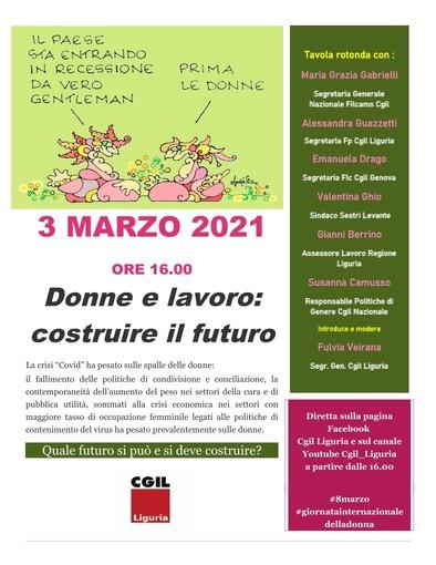 'Donne e lavoro: costruire il futuro': mercoledì 3 marzo ore 16 canali social Cgil Liguria