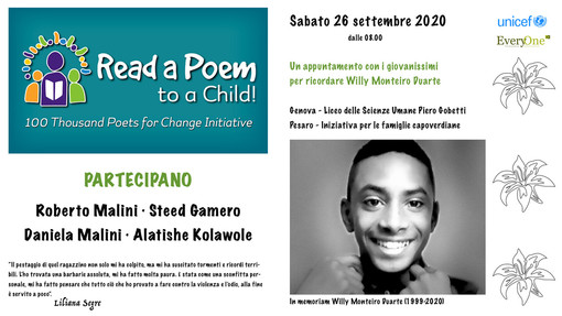 Unicef/Monte di Portofino amici dei bambini e degli adolescenti con a Poem to a Child: studenti del Liceo delle Scienze Umane ricordano Willy con i 100 Thousand Poets for Change