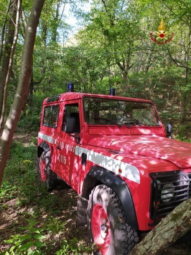 I vigili del fuoco intervengono nei boschi di Boasi per soccorrere un escursionista