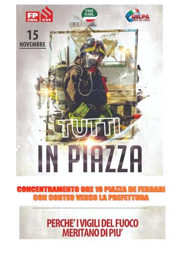 Domani vigili del fuoco in sciopero e manifestazione in piazza De Ferrari