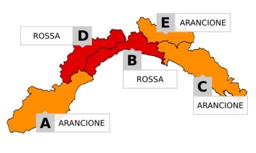 """Confermata l'allerta rossa nel centro della Liguria (zone B e D) dalle 20 di stasera: domani 21 ottobre scuole chiuse nelle zone """"rosse"""""""