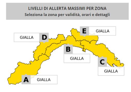 Meteo: prorogata l'allerta gialla su tutta la Liguria