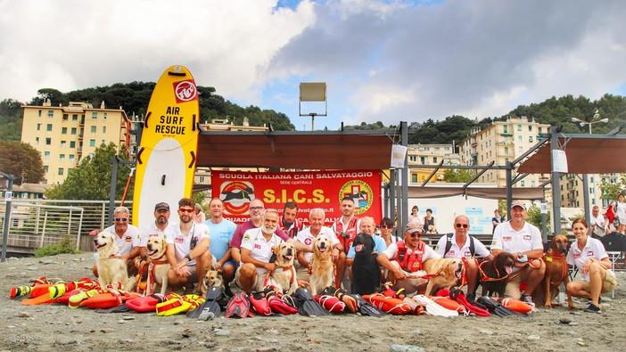 Voltri, tornano sulla spiaggia i Golden Retriever del salvataggio in mare
