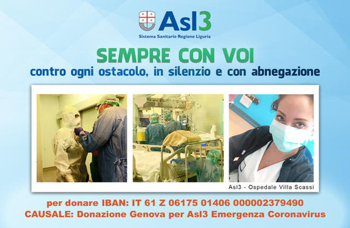 """Attiva da oggi la campagna raccolta fondi per l'emergenza Coronavirus """"Asl3 sempre con voi"""""""