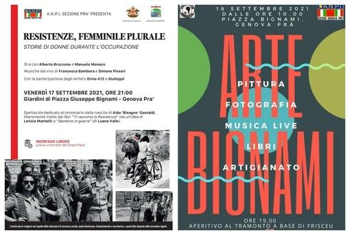 """""""Resistenze, femminile plurale"""" e 'Arte Bignami. Pittura, fotografia, musica live, libri e artigianato': doppio appuntamento sabato 17 e domenica 18 settembre con l'Anpi Pra'"""