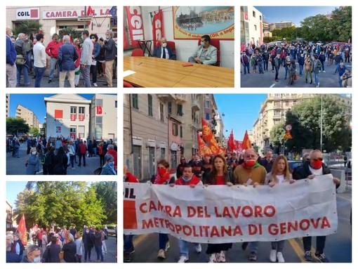 Un fiume di solidarietà dopo gli attacchi alla Cgil. Ecco i presidi a Genova, Savona e Imperia