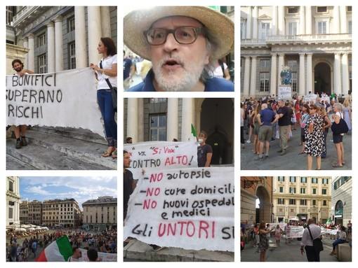 """Genova, in 200 contro il green pass, Becchi: """"Il paragone con gli ebrei? L'ho fatto io, se sono vaccinato sono cazzi miei"""" (FOTO e VIDEO)"""