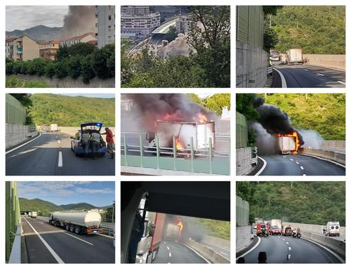 A fuoco un camion sulla A10: chiuso in entrambe le direzioni il tratto Albisola-Savona (FOTO e VIDEO)