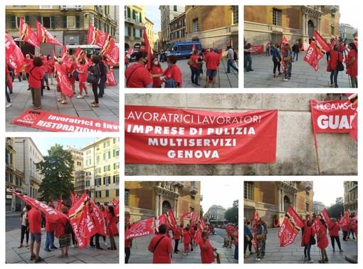 Manifestazione Cgil davanti alla Prefettura di Genova: la protesta di lavoratrici e lavoratori in appalto per i servizi di ristorazione, pulimento e vigilanza (FOTO e VIDEO)