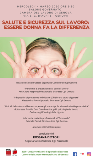 """Mercoledì 4 marzo l'incontro """"Salute e sicurezza sul lavoro: essere donna fa la differenza"""""""