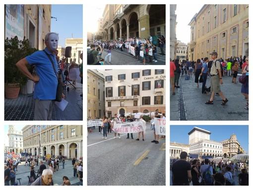 Green pass, nuova manifestazione a Genova, presi di mira sindacati, Confindustria e Ordine dei medici (FOTO e VIDEO)