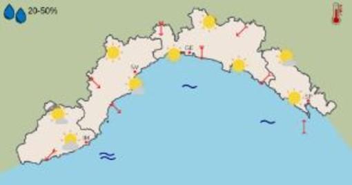 Meteo, ancora giornate soleggiate in Liguria, temperature in aumento