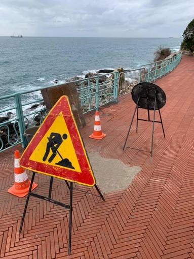 Cantiere sulla passeggiata 'Anita Garibaldi' a Nervi: la pavimentazione sarà ripristinata