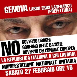 Manifestazione per dire no al governo Draghi e a quello di banche e multinazionali