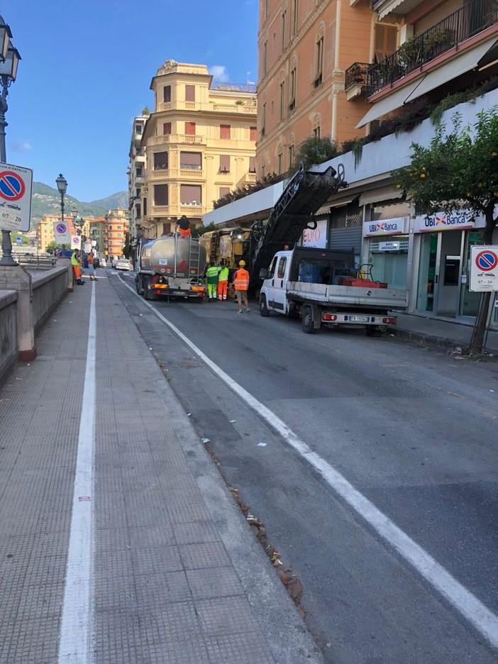 Rapallo: al via le asfaltature di via Diaz e Rosselli con i fondi stanziati da Società Autostrade