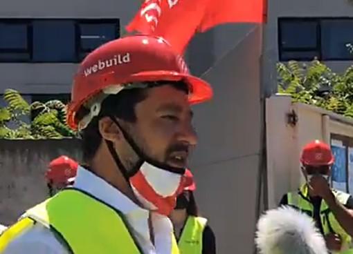 """Salvini al cantiere per il nuovo ponte sul Polcevera: """"Azzerare il codice degli appalti e sbloccare le infrastrutture"""""""
