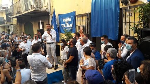 """Salvini ad Albenga per ricordare la """"guerriera"""" Rosy Guarnieri (FOTO e VIDEO)"""